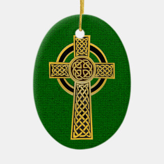 Celtic Cross, gold and green Christmas Ornament