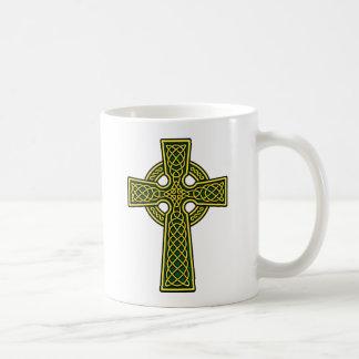 Celtic Cross gold and green Coffee Mug