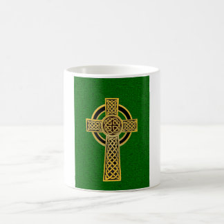 Celtic Cross, gold and green Coffee Mug