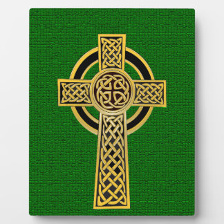 Celtic Cross, gold and green Display Plaque