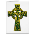 Celtic Cross gold and green Greeting Card