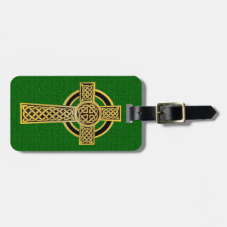 Celtic Cross, gold and green Luggage Tag