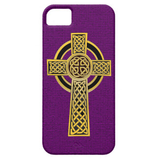 Celtic Cross, gold and purple iPhone 5 Cases