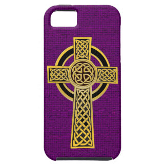 Celtic Cross, gold and purple iPhone 5 Covers