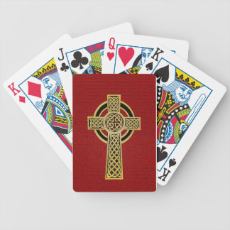 Celtic Cross, gold and red Bicycle Playing Cards