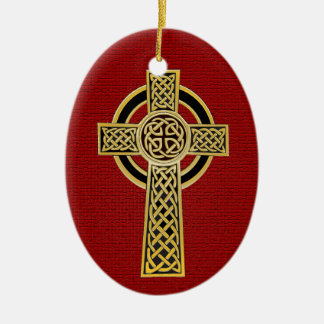 Celtic Cross, gold and red Christmas Ornament