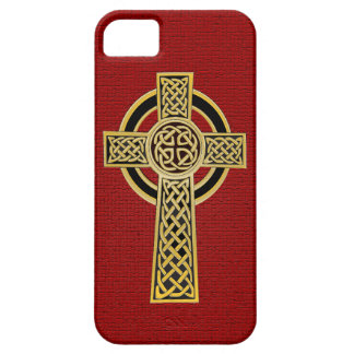 Celtic Cross, gold and red iPhone 5 Case