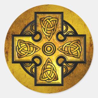 Celtic Cross (gold metal) Round Sticker