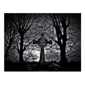 Celtic cross grave postcard