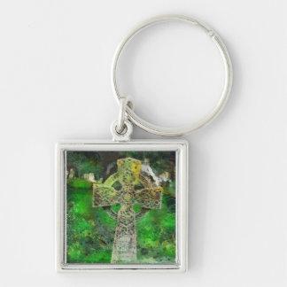 Celtic Cross Gravestone Silver-Colored Square Key Ring