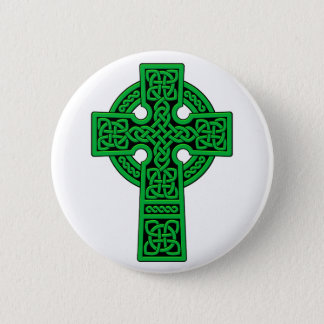 Celtic Cross green 6 Cm Round Badge