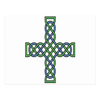 Celtic Cross (Green and Blue) Postcard