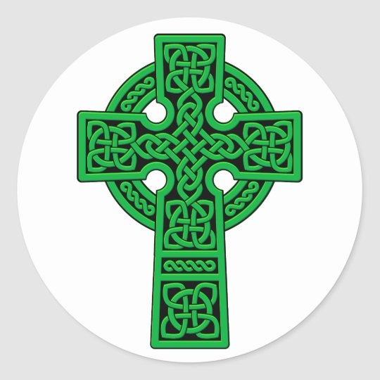 Celtic Cross green Classic Round Sticker