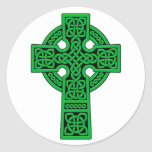 Celtic Cross green Round Stickers