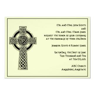 Celtic Cross in Black and Mythic Ivory Wedding 13 Cm X 18 Cm Invitation Card
