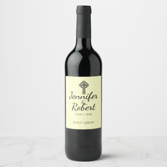 Celtic Cross in Black Mythic Ivory Wine Label
