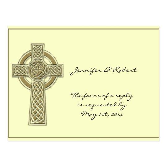 Celtic Cross in Gold Ivory RSVP Postcard