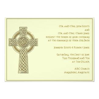 Celtic Cross in Gold Ivory Wedding Invitation