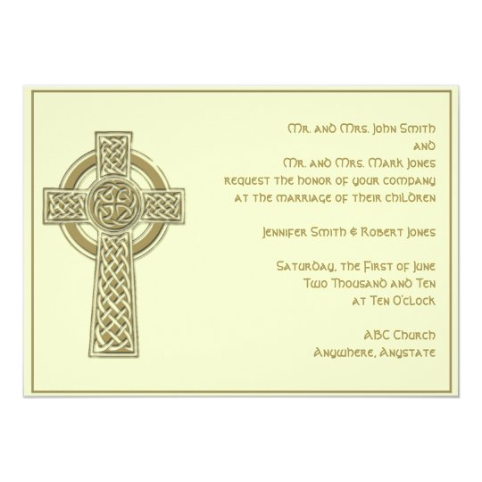 Celtic Cross in Gold Ivory Wedding Invitation