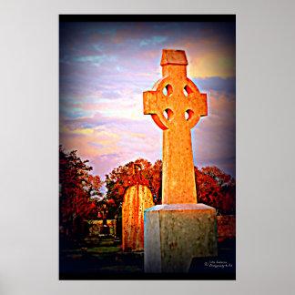 Celtic Cross in Graveyard Poster Irish