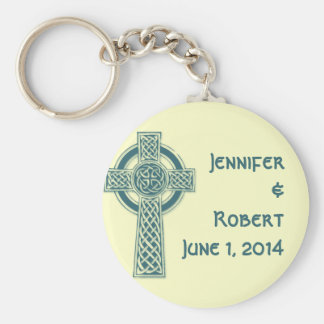 Celtic Cross in Teal and Mythic Ivory Key Chain