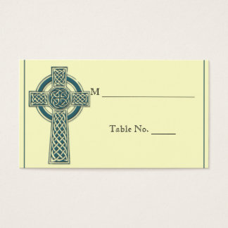 Celtic Cross in Teal Ivory Wedding Place Cards