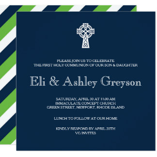 Celtic Cross Invitation - Twins First Communion