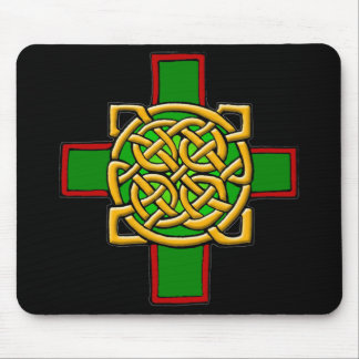 Celtic Cross Knotwork in Green and Red Mousepad