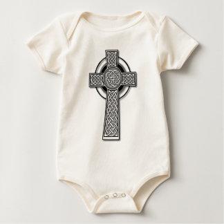 Celtic Cross (long, black and white) Baby Bodysuit