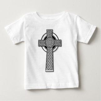 Celtic Cross (long, black and white) Baby T-Shirt