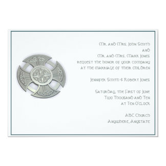 Celtic Cross Medallion in Silver and White Wedding 13 Cm X 18 Cm Invitation Card