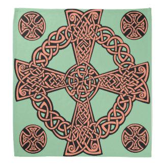 Celtic cross mint green peach knot bandanna
