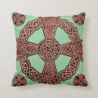Celtic cross mint green peach knot cushion