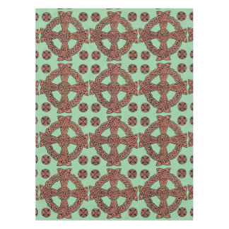 Celtic cross mint green peach knot tablecloth