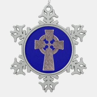 Celtic Cross Pewter Snowflake Ornament