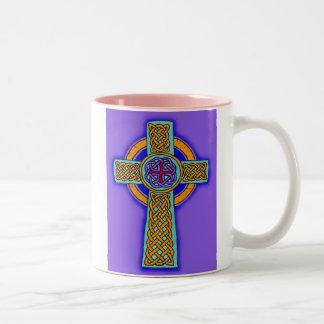 Celtic Cross Purple Hues Two-Tone Mug
