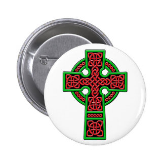 Celtic Cross red and green 6 Cm Round Badge