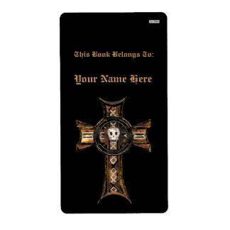 Celtic Cross & Skull (Gold) (Bookplate) Shipping Label