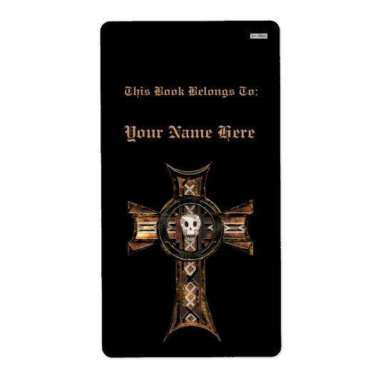 Celtic Cross & Skull (Gold) (Bookplate) Shipping Label