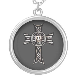 Celtic Cross & Skull (Silver) Round Pendant Necklace
