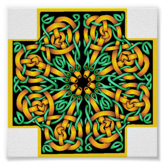 Celtic cross- snakes colors poster