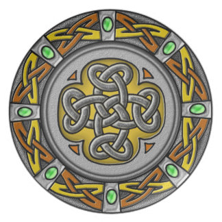 Celtic cross steel and leather plate