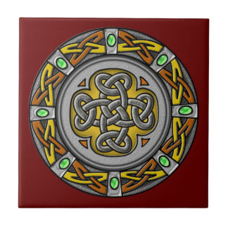 Celtic cross steel and leather small square tile