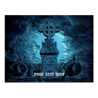 Celtic cross tiled tombstone in blue postcard