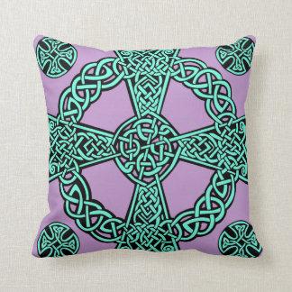 Celtic cross turquoise lavender knot cushion