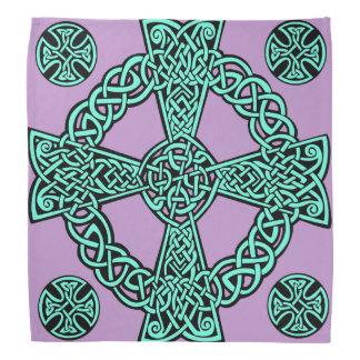 Celtic cross turquoise lavender knot kerchief