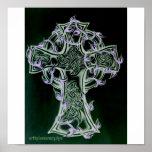 celtic cross/vine art poster