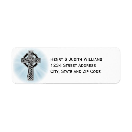 Celtic Cross with Rays of Light Return Address Label