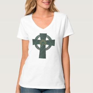 Celtic Cross with Shamrock T-shirts