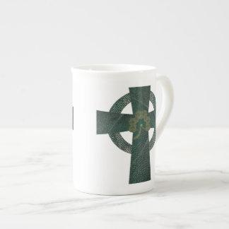 Celtic Cross with Shamrock Tea Cup